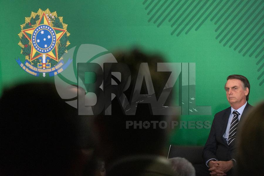 BRASILIA, DF, 02.01.2019 - BOLSONARO-PORTUGAL-    O presidente da República, Jair Bolsonaro, durante cerimônia de transmissão do cargo de ministros, no Palácio do Planalto, nesta quarta, 02.(Foto:Ed Ferreira / Brazil Photo Press)