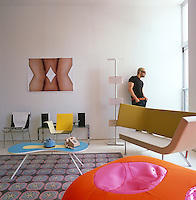 Designer Karim Rashid in the living room of his New York apartment