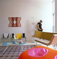 Designer Karim Rashid in the living room of his New York apartment