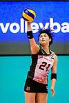 Ai Kurogo of Japan serves the ball during the FIVB Volleyball Nations League Hong Kong match between Japan and Italy on May 29, 2018 in Hong Kong, Hong Kong. Photo by Marcio Rodrigo Machado / Power Sport Images