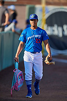 Franklin De La Paz (23) of the Ogden Raptors before the game against the Orem Owlz at Lindquist Field on September 3, 2019 in Ogden, Utah. The Raptors defeated the Owlz 12-0. (Stephen Smith/Four Seam Images)