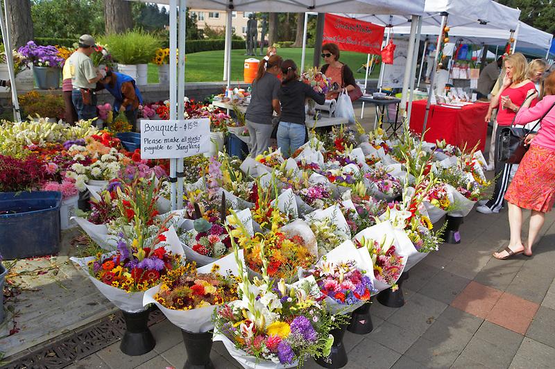 Flowers for sale at Lake Oswego Farmers Market. Oregon