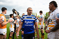 Jonathan Joseph and the rest of the Bath Rugby team leave the field after the match. Gallagher Premiership match, between Bath Rugby and Wasps on May 5, 2019 at the Recreation Ground in Bath, England. Photo by: Patrick Khachfe / Onside Images