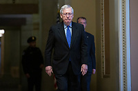 United States Senate Majority Leader Mitch McConnell (Republican of Kentucky) walks to the Senate Chamber at the United States Capitol in Washington D.C., U.S. on Tuesday, March 24, 2020.  The Senate is working to finalize a deal on the Coronavirus Stimulus Package, after it was blocked by Senate Democrats two days in a row.  Credit: Stefani Reynolds / CNP/AdMedia
