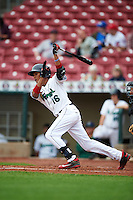 Cedar Rapids Kernels shortstop Jermaine Palacios (16) at bat during the first game of a doubleheader against the Kane County Cougars on May 10, 2016 at Perfect Game Field in Cedar Rapids, Iowa.  Kane County defeated Cedar Rapids 2-0.  (Mike Janes/Four Seam Images)