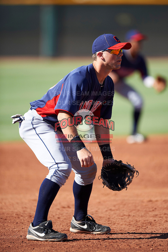 Cleveland Indians minor league third baseman Joe Sever #25 during an instructional league game against the Cincinnati Reds at the Goodyear Training Complex on October 8, 2012 in Goodyear, Arizona.  (Mike Janes/Four Seam Images)