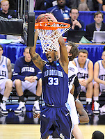 Keyon Carter of the Monarchs has his shot block from behind by Bulldogs' Matt Howard. Butler defeated Old Dominion 60-58 during the NCAA tournament at the Verizon Center in Washington, D.C. on Thursday, March 17, 2011. Alan P. Santos/DC Sports Box
