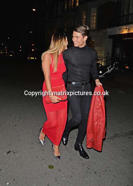 NON EXCLUSIVE PICTURE: PALACE LEE / MATRIXPICTURES.CO.UK<br /> PLEASE CREDIT ALL USES<br /> <br /> WORLD RIGHTS<br /> <br /> English The Only Way Is Essex reality television stars Sam Faiers and Joey Essex are pictured while out on a date at Cipriani in the affluent Mayfair area of London, England.<br /> <br /> The on-again-off-again couple look smitten as they hold hands while leaving the hot spot restaurant.<br /> <br /> APRIL 26th 2014<br /> <br /> REF: LTN 142061