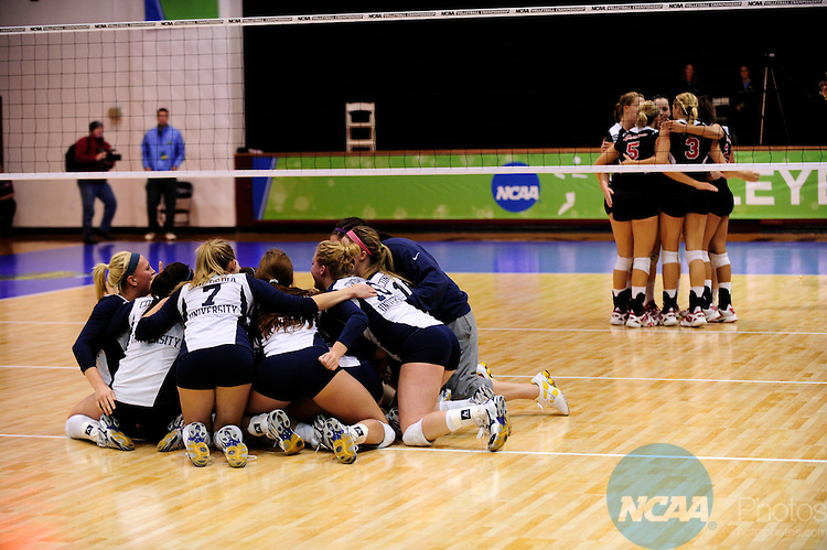 04 DEC 2010:  Concordia St. Paul celebrates after winning against Tampa during the Division II Women's Volleyball Championship held at Knights Hall on the Bellarmine campus in Louisville, KY.  Josh Duplechian/NCAA Photos