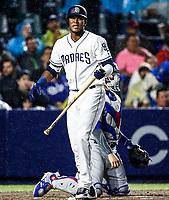 Franchy Cordero, durante el partido de beisbol de los Dodgers de Los Angeles contra Padres de San Diego, durante el primer juego de la serie las Ligas Mayores del Beisbol en Monterrey, Mexico el 4 de Mayo 2018.<br /> (Photo: Luis Gutierrez)