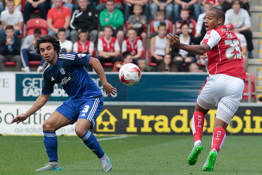 Cardiff City's Fabio gets away from Rotherham United's Vadis Odjidja-Ofoe<br /> <br /> Photographer David Shipman/CameraSport<br /> <br /> Football - The Football League Sky Bet Championship - Rotherham United v Cardiff City - Saturday 19th September 2015 - AESSEAL New York Stadium - Rotherham<br /> <br /> &copy; CameraSport - 43 Linden Ave. Countesthorpe. Leicester. England. LE8 5PG - Tel: +44 (0) 116 277 4147 - admin@camerasport.com - www.camerasport.com