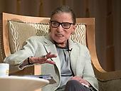 Associate Justice of the Supreme Court of the United States Ruth Bader Ginsburg appears at Adas Israel Congregation in Washington, DC on Thursday, February 1, 2018.<br /> Credit: Ron Sachs / CNP