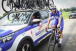 Fernando Gaviria (COL) Quick-Step Floors back at the team car during Stage 7 of the 2018 Tour de France running 231km from Fougeres to Chartres, France. 13th July 2018. <br /> Picture: ASO/Pauline Ballet | Cyclefile<br /> All photos usage must carry mandatory copyright credit (&copy; Cyclefile | ASO/Pauline Ballet)