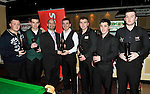 The Crucible team from Cork, who were runnersup inwho won the Ladbrokes Munster Team Snooker competition at The Gleneagle Hotel, Killarney at the weekend. recieving their trophy from Olivier Papin, The Gleneagle Hotel, from left, Cian Cronin, Dave O'Regan, Gary Casey, Cian Corcoran, Ryan Croinin and David Casey..Picture by Don MacMonagle