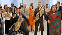 Athens, Greece. Opening days of documenta14.<br /> EMST, National Museum Of Contemporary Art. Chief Curator Adam Szymczyk (r.) watching a special welcoming ceremony by Maori artists from New Zealand.