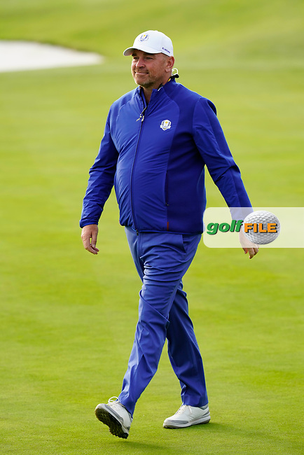 Thomas Bjorn (Team Europe Captain) after the singles matches at the Ryder Cup, Le Golf National, Ile-de-France, France. 30/09/2018.<br /> Picture Fran Caffrey / Golffile.ie<br /> <br /> All photo usage must carry mandatory copyright credit (© Golffile | Fran Caffrey)