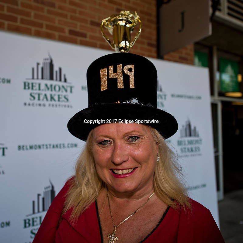 ELMONT, NY - JUNE 10: A women wears a celebrating the 149th Belmont Stakes on Belmont Stakes Day at Belmont Park on June 10, 2017 in Elmont, New York (Photo by Scott Serio/Eclipse Sportswire/Getty Images)