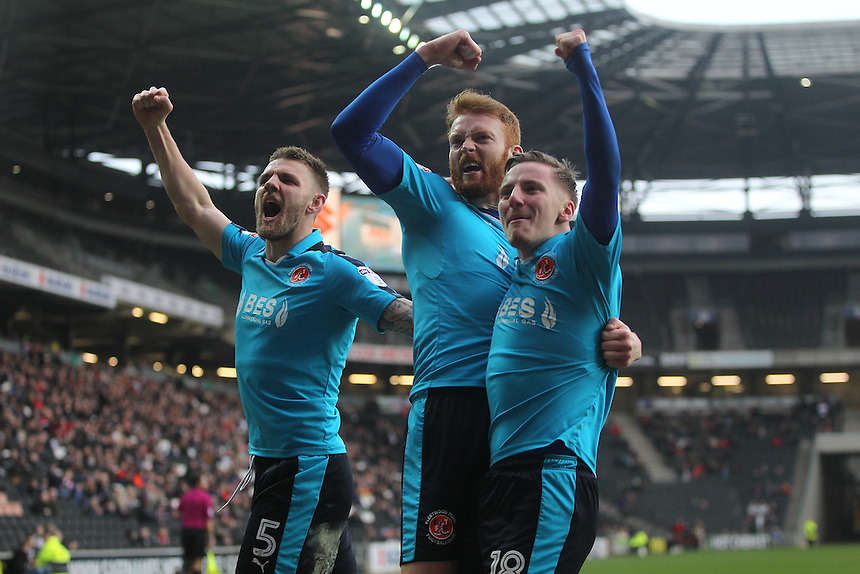 Fleetwood Town's Cian Bolger celebrates scoring his sides first goal with team-mates<br /> <br /> Photographer /Mick Walker CameraSport<br /> <br /> The EFL Sky Bet League One - Milton Keynes Dons v Fleetwood Town - Saturday 18th February 2017 - Stadium:mk - Milton Keynes<br /> <br /> World Copyright &copy; 2017 CameraSport. All rights reserved. 43 Linden Ave. Countesthorpe. Leicester. England. LE8 5PG - Tel: +44 (0) 116 277 4147 - admin@camerasport.com - www.camerasport.com