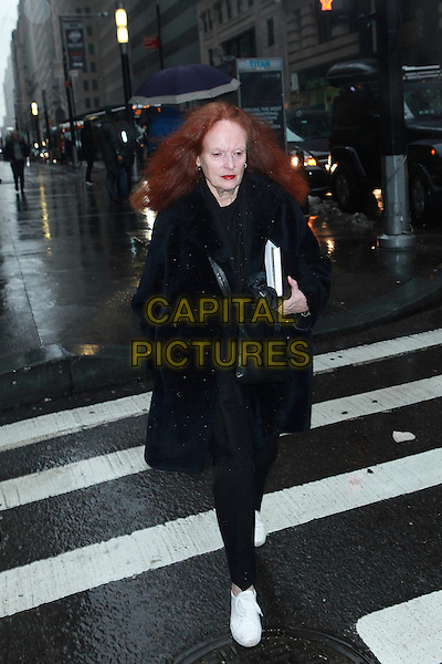 NEW YORK, NY - FEBRUARY 12: Grace Coddington arrives at the Victoria Beckham NYFW A/W 2017 Fashion Show at Cipriani on February 12, 2017 in New York City. <br /> CAP/MPI/DC<br /> &copy;DC/MPI/Capital Pictures