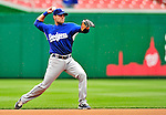 24 April 2010: Los Angeles Dodgers' infielder Jamey Carroll warms up prior to a game against the Washington Nationals at Nationals Park in Washington, DC. The Dodgers edged out the Nationals 4-3 in a thirteen inning game. Mandatory Credit: Ed Wolfstein Photo