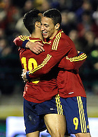 Spain's Rodrigo and Thiago (b) celebrate goal during an International sub21 match. March 21, 2013.(ALTERPHOTOS/Alconada) /NortePhoto