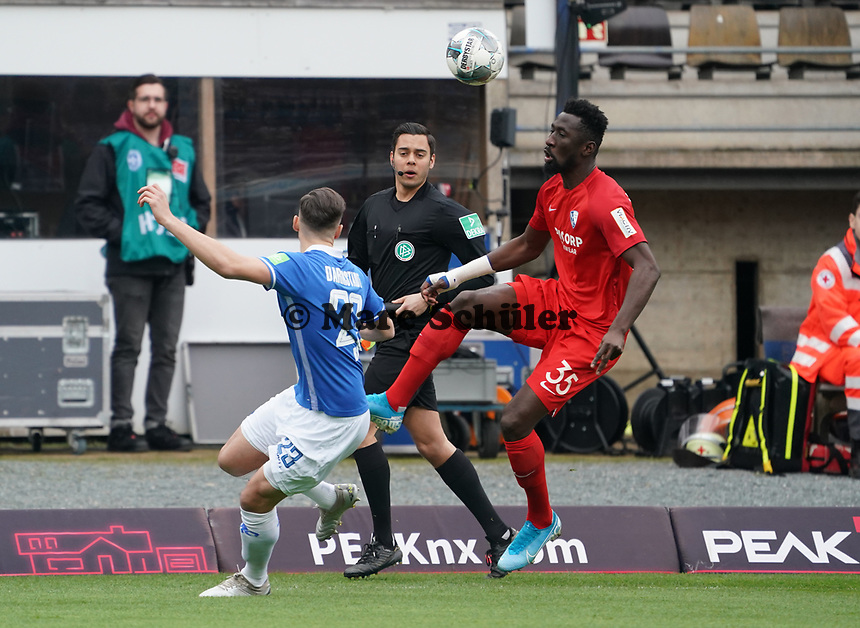 Silvere Ganvoula Mboussy (VfL Bochum) gegen Nicolai Rapp (SV Darmstadt 98) - 07.03.2020: SV Darmstadt 98 vs. VfL Bochum, Stadion am Boellenfalltor, 2. Bundesliga<br /> <br /> DISCLAIMER: <br /> DFL regulations prohibit any use of photographs as image sequences and/or quasi-video.