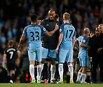 Vincent Kompany of Manchester City congratulates Gabriel Jesus of Manchester City during the English Premier League match at the Etihad Stadium, Manchester. Picture date: May 16th 2017. Pic credit should read: Simon Bellis/Sportimage