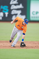 St. Lucie Mets shortstop Dale Burdick (7) fields a ground ball during a game against the Clearwater Threshers on August 11, 2018 at Spectrum Field in Clearwater, Florida.  St. Lucie defeated Clearwater 11-0.  (Mike Janes/Four Seam Images)