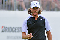 Tommy Fleetwood (ENG) after sinking his putt on 9 during Saturday's round 3 of the World Golf Championships - Bridgestone Invitational, at the Firestone Country Club, Akron, Ohio. 8/5/2017.<br /> Picture: Golffile | Ken Murray<br /> <br /> <br /> All photo usage must carry mandatory copyright credit (&copy; Golffile | Ken Murray)