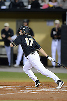 Central Florida Knights outfielder Derrick Salberg (17) during the season opening game against the Siena Saints at Jay Bergman Field on February 14, 2014 in Orlando, Florida.  UCF defeated Siena 8-1.  (Mike Janes/Four Seam Images)
