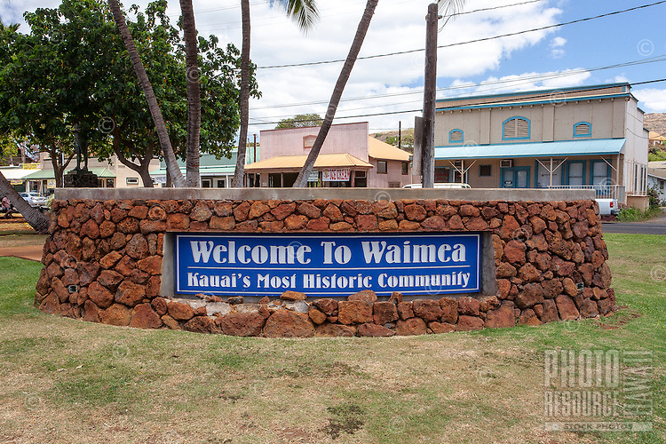 Welcome sign in small historic town of Waimea, Kaua'i