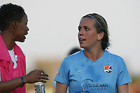 Piscataway, NJ - Saturday June 11, 2016: Maya Hayes, Kelly Conheeney during a regular season National Women's Soccer League (NWSL) match between Sky Blue FC and FC Kansas City at Yurcak Field.