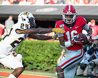 ATHENS, GA - SEPTEMBER 7: Demetris Robertson #16 catches a touchdown pass over Marcis Floyd #24 during a game between Murray State Racers and University of Georgia Bulldogs at Sanford Stadium on September 7, 2019 in Athens, Georgia.