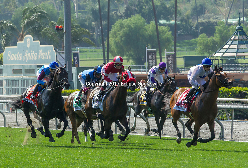 "ARCADIA, CA. JUNE 3: The field of the Shoemaker Mile (Grade l), Breeders' Cup ""Win and You're In"" race on June 3, 2017, at Santa Anita Park in Arcadia, CA. (Photo by Casey Phillips/Eclipse Sportswire/Getty Images)"