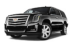 Stock pictures of low aggressive front three quarter view of a 2018 Cadillac Escalade ESV 2WD Luxury 5 Door SUV
