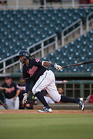 AZL Indians 1 designated hitter Jhan Rodriguez (10) starts down the first base line during an Arizona League game against the AZL White Sox at Goodyear Ballpark on June 20, 2018 in Goodyear, Arizona. AZL Indians 1 defeated AZL White Sox 8-7. (Zachary Lucy/Four Seam Images)