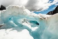 Blue ice cave on Franz Josef Glacier, Westland Tai Poutini National Park, West Coast, UNESCO World Heritage Area, New Zealand, NZ