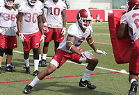 NWA Democrat-Gazette/DAVID GOTTSCHALK   Arkansas Razorback safety Santos Ramirez runs through  drills Friday, July 28, 2017, during practice on campus in Fayetteville.