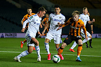 Hull City's Keane Lewis-Potter vies for possession with Leeds United's Jamie Shackleton and Ian Poveda<br /> <br /> Photographer Alex Dodd/CameraSport<br /> <br /> Carabao Cup Second Round Northern Section - Leeds United v Hull City -  Wednesday 16th September 2020 - Elland Road - Leeds<br />  <br /> World Copyright © 2020 CameraSport. All rights reserved. 43 Linden Ave. Countesthorpe. Leicester. England. LE8 5PG - Tel: +44 (0) 116 277 4147 - admin@camerasport.com - www.camerasport.com
