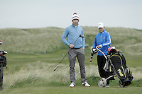 Gareth Bohill (Co. Louth) and his caddy on the 15th tee during round 2 of The West of Ireland Amateur Open in Co. Sligo Golf Club on Saturday 19th April 2014.<br /> Picture:  Thos Caffrey / www.golffile.ie