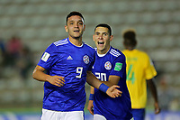 31st October 2019; Bezerrao Stadium, Brasilia, Distrito Federal, Brazil; FIFA U-17 World Cup Brazil 2019, Solomon Islands versus Paraguay; Diego Duarte of Paraguay celebrates his goal in the 88th minute for 0-6 - Editorial Use