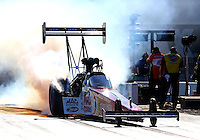 Sep 14, 2013; Charlotte, NC, USA; NHRA top fuel dragster driver Doug Kalitta during qualifying for the Carolina Nationals at zMax Dragway. Mandatory Credit: Mark J. Rebilas-