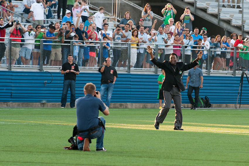 HEMPSTEAD, NY – AUGUST 3: Legendary former Cosmos soccer player, Pele, is introduced before the start of the New York Cosmos' home opener against the Fort Lauderdale Strikers on August 3, 2013 at Hofstra University's Shuart Stadium in Hempstead, New York.