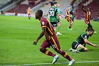 Dominic Poleon of Bradford City celebrates scoring for Bradford City during the Carabao Cup match between Bradford City and Doncaster Rovers at the Northern Commercial Stadium, Bradford, England on 8 August 2017. Photo by Thomas Gadd.
