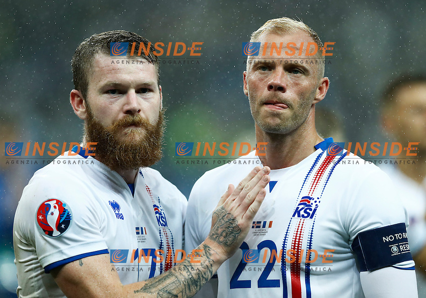 Aaron Gunnarsson and Eidur Gudjohnsen (Iceland) at the end of the match<br /> Paris 03-07-2016 Stade de France Football Euro2016 France - Iceland / Francia - Islanda Quarter finals <br /> Foto Matteo Ciambelli / Insidefoto