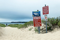Shark warning and beach advisory, Wellfleet, Cape Cod, Massachusetts, USA