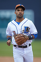 Durham Bulls second baseman Micah Johnson (3) jogs off the field between innings of the game against the Buffalo Bison at Durham Bulls Athletic Park on April 25, 2018 in Allentown, Pennsylvania.  The Bison defeated the Bulls 5-2.  (Brian Westerholt/Four Seam Images)