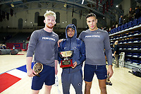 PHILADELPHIA, PA - NOVEMBER 18: (L-R) Bo Nickal, Roman Bravo-Young and Shakur Rasheed of the Penn State Nittany Lions pose with the first place team trophy after the Keystone Classic on November 18, 2018 at The Palestra on the campus of the University of Pennsylvania in Philadelphia, Pennsylvania. (Photo by Hunter Martin/Getty Images) *** Local Caption *** Bo Nickal;Roman Bravo-Young;Shakur Rasheed