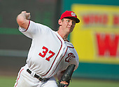 Washington Nationals starting pitcher Stephen Strasburg (37) works in the sixth inning against the Chicago Cubs at Nationals Park in Washington, D.C. on Wednesday, June 15, 2016.  The Nationals won the game 5 - 4 in 12 innings.<br /> Credit: Ron Sachs / CNP
