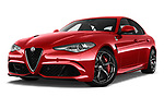 Stock pictures of low aggressive front three quarter view of 2018 Alfa Romeo Giulia Quadrifoglio Base 4 Door Sedan